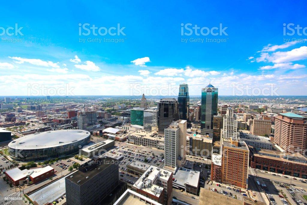 Kansas City Missouri from City Hall stock photo