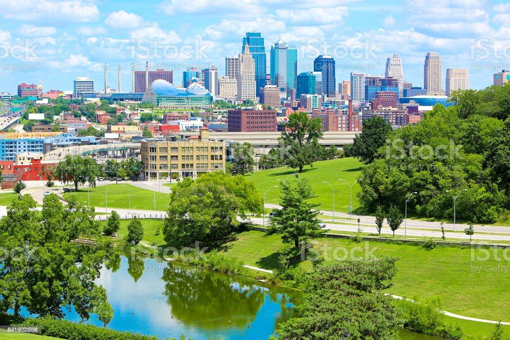 Kansas City Missouri Lake Skyline stock photo