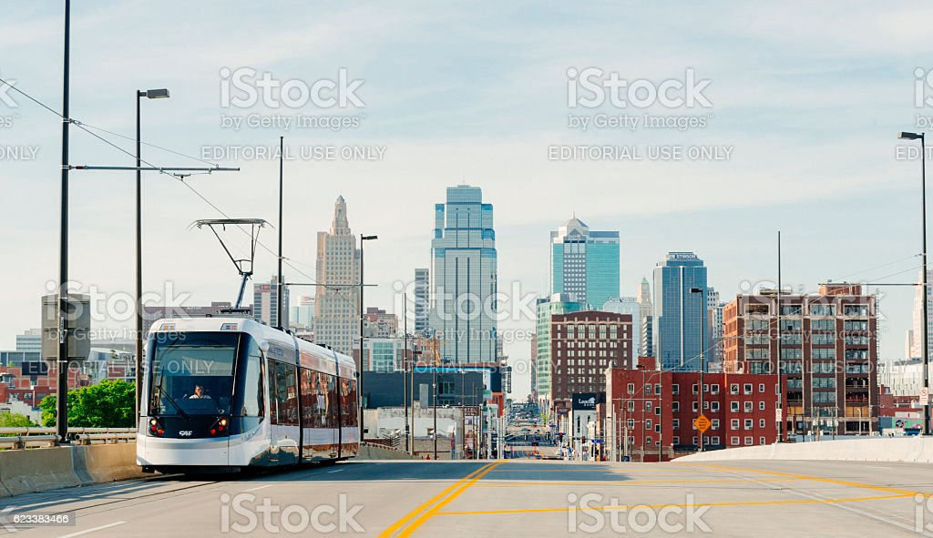 Kansas City Missouri Streetcar Downtown Line Provides Public Transportation USA stock photo