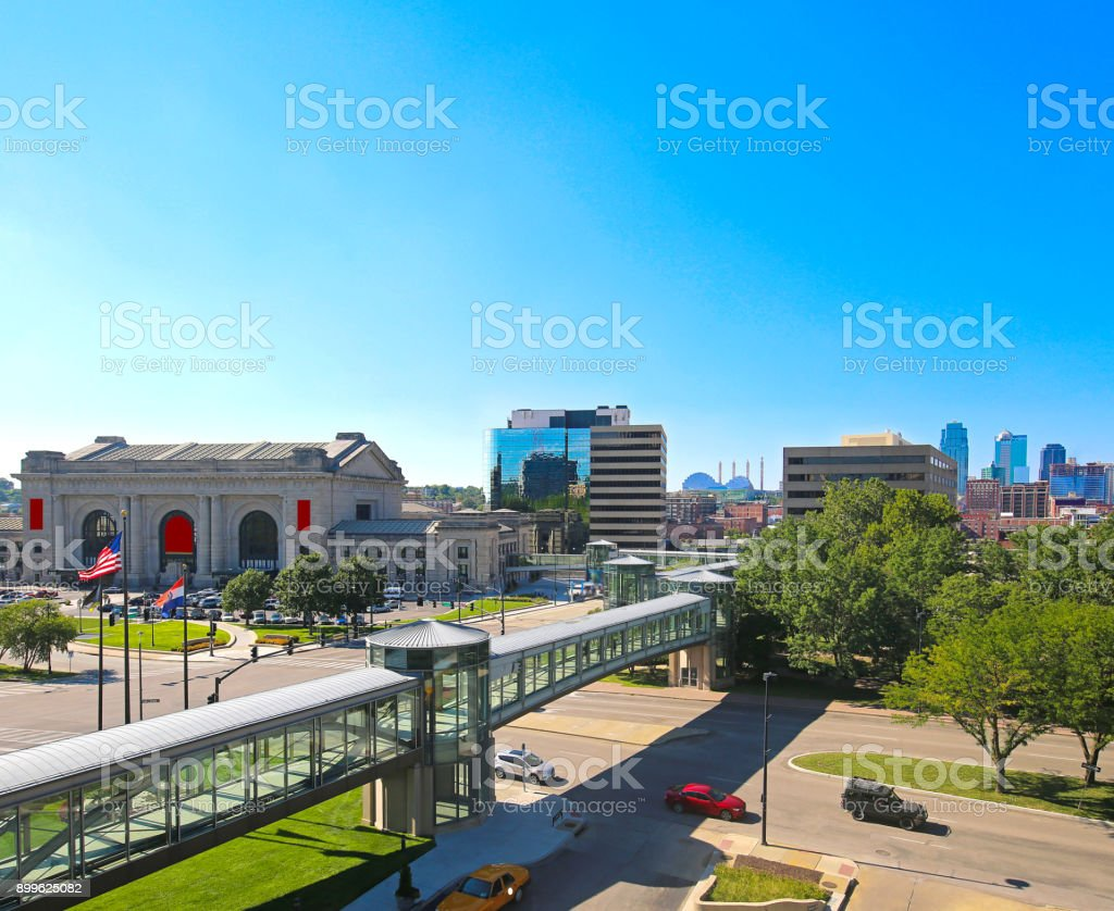 Kansas City Missouri Union Station and Skyline stock photo
