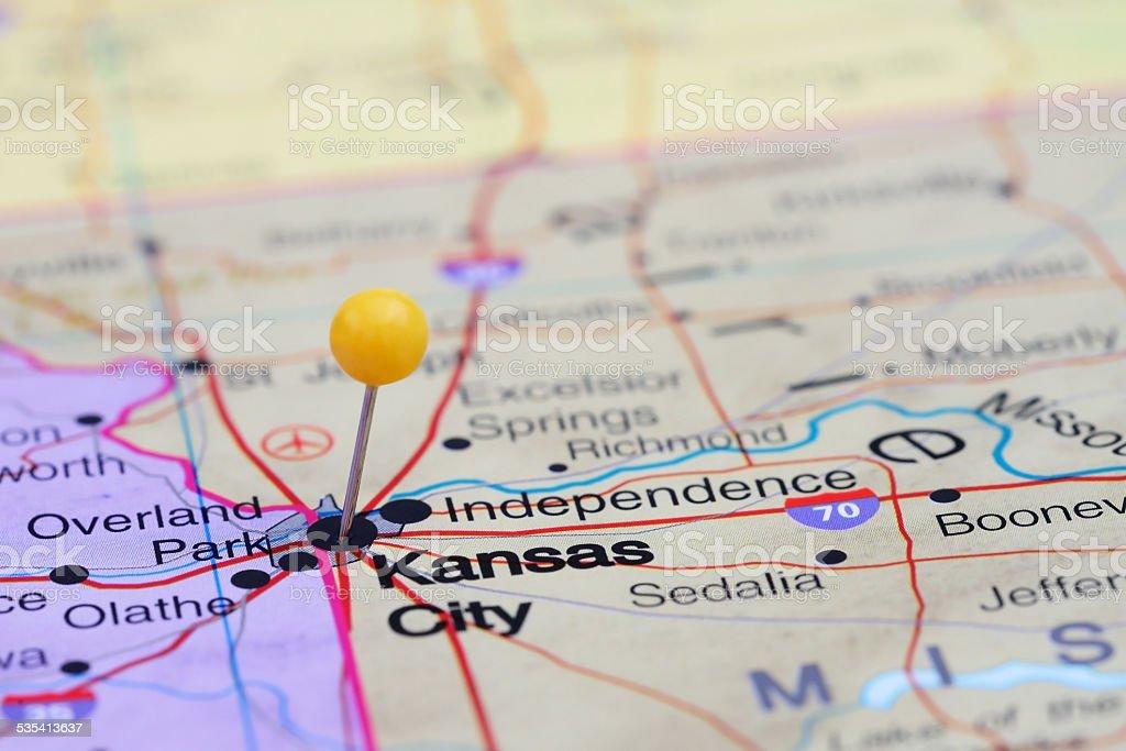 Kansas City pinned on a map of USA stock photo