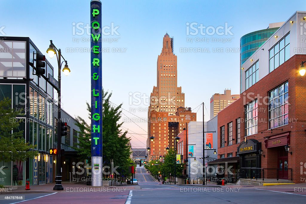 Kansas City Power and Light District stock photo