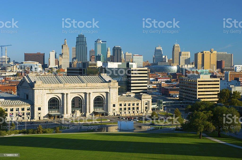 Kansas City skyline and Union Station royalty-free stock photo