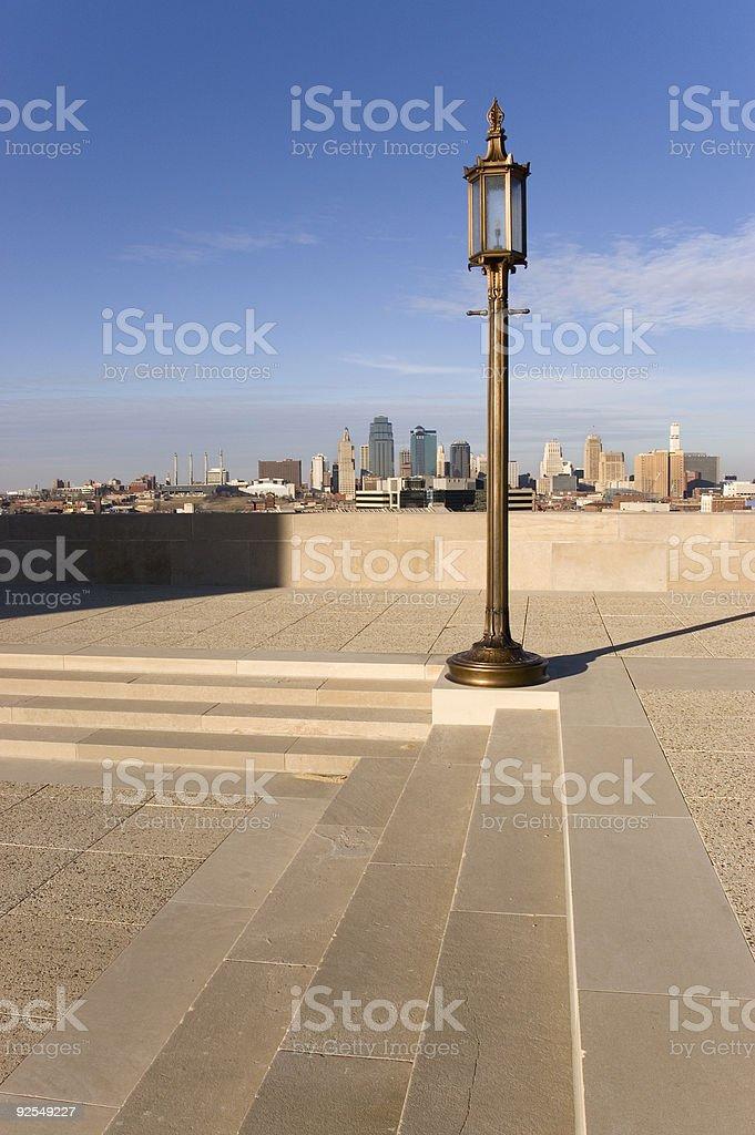 Kansas City Skyline & Lamp Post royalty-free stock photo