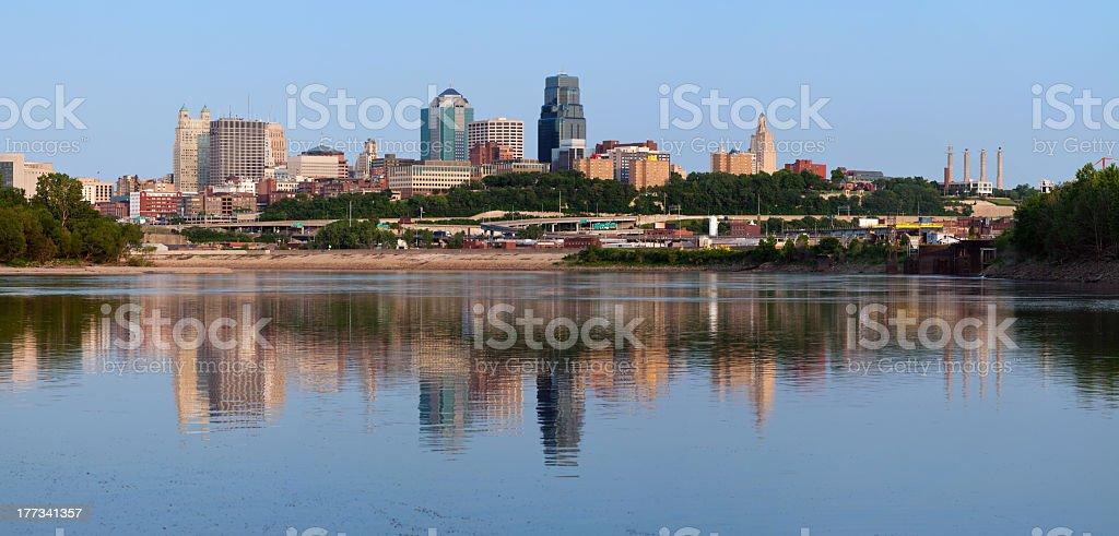 Kansas City skyline panorama near water stock photo