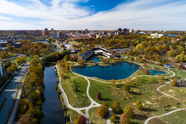 Kansas City's Country Club Plaza District and Park Aerial stock photo
