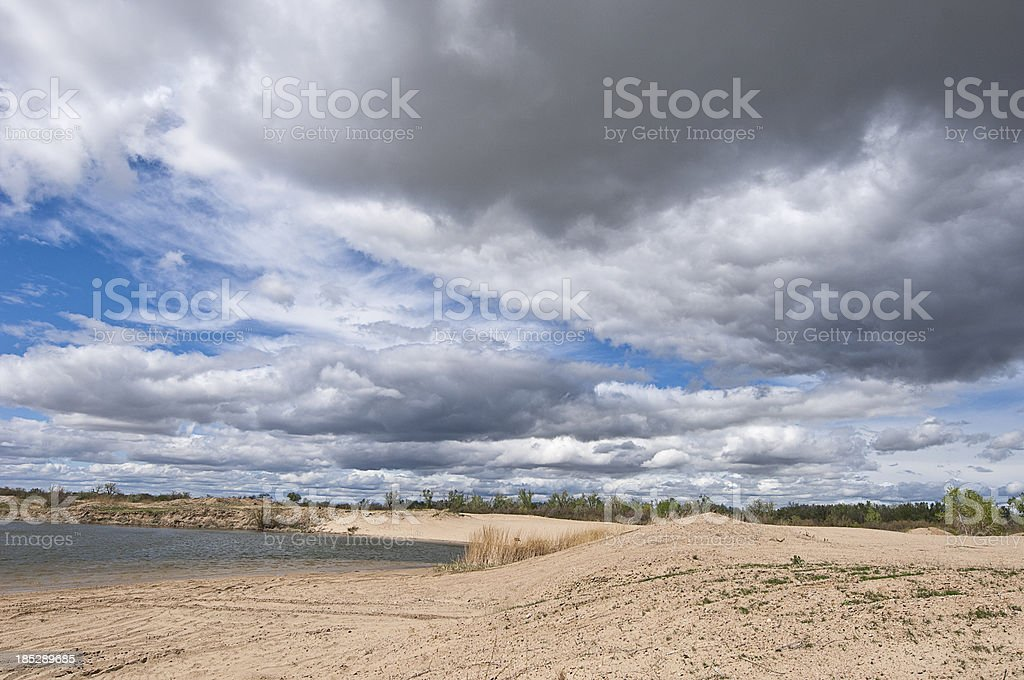 Kansas cloudscape over sand royalty-free stock photo
