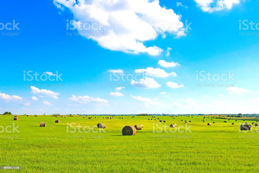 Kansas Flat Land HayStacks stock photo