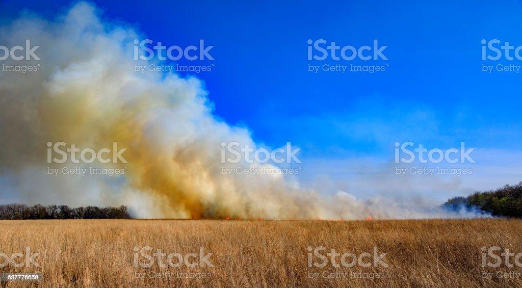 Kansas Prairie Field Burn stock photo