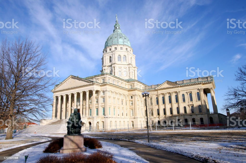 Kansas State Capitol wide stock photo
