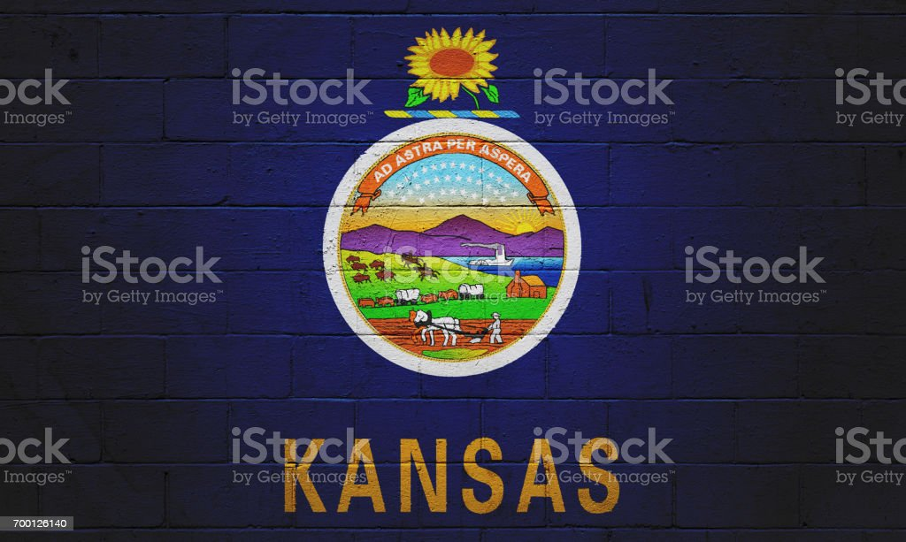 Kansas state flag painted on a wall stock photo