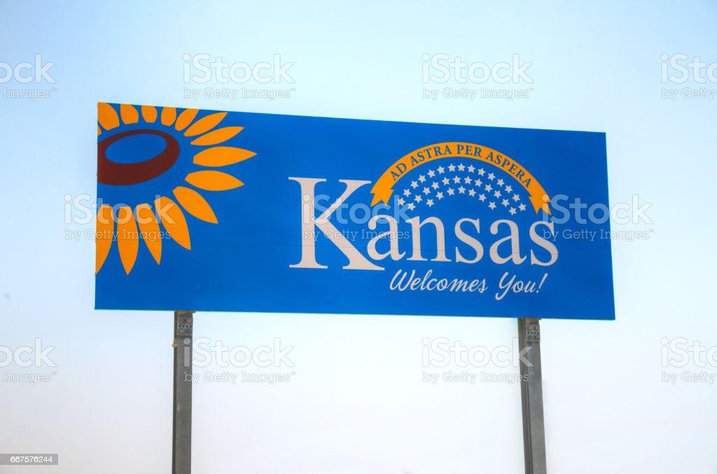 Kansas welcomes you sign stock photo