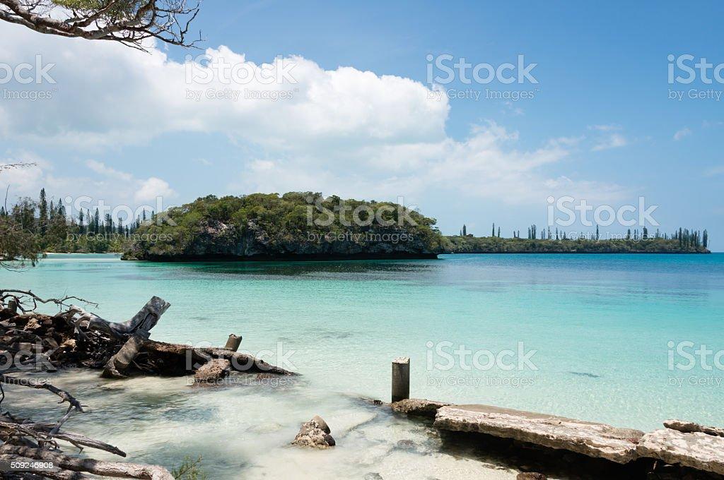 Kanumera Bay on the Pines Island in New Caledonia stock photo