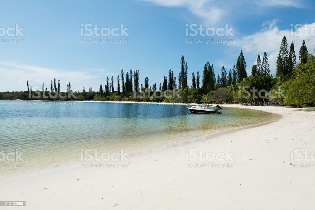 Kanumera beach on the Isle of Pines in New Caledonia stock photo