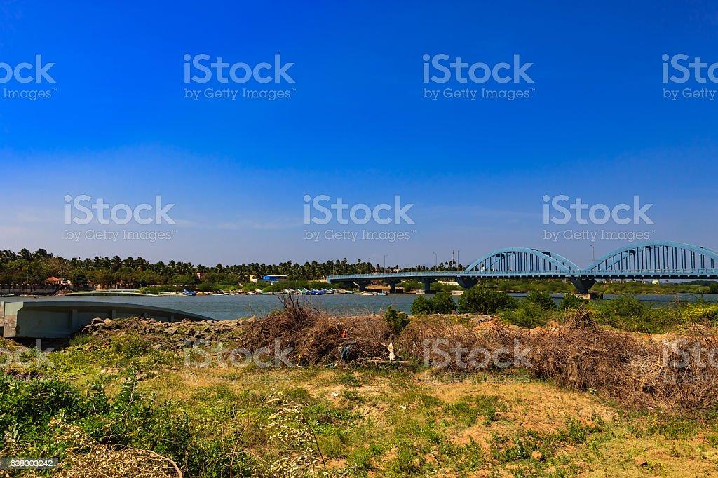 Kanyakumari India - Mannakudi Bridge destroyed by 2004 Tsunami stock photo