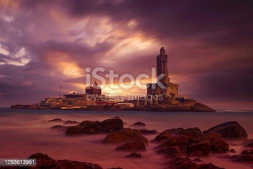 istock Kanyakumari - Vivekananda Rock Memorial Thiruvalluvar Statue in the evening with a colorful and cloudy sky background. 1293613951