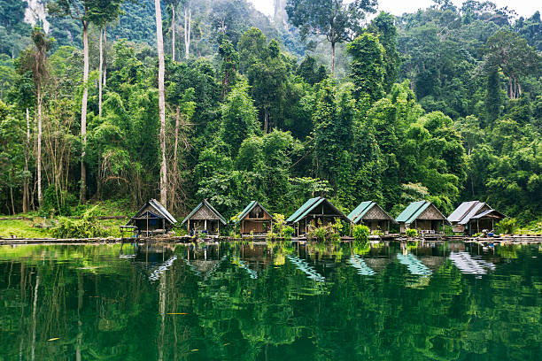 Kao Sok National Park lake and villagers sheds. 스톡 사진