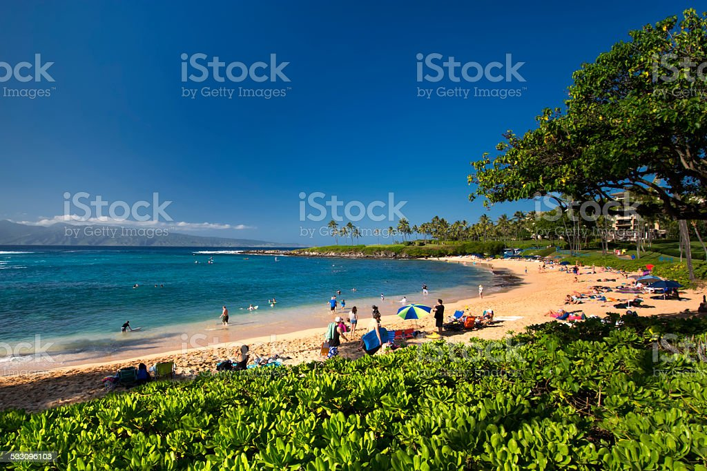 Kapalua beach on the west coast of Maui, Hawaii stock photo