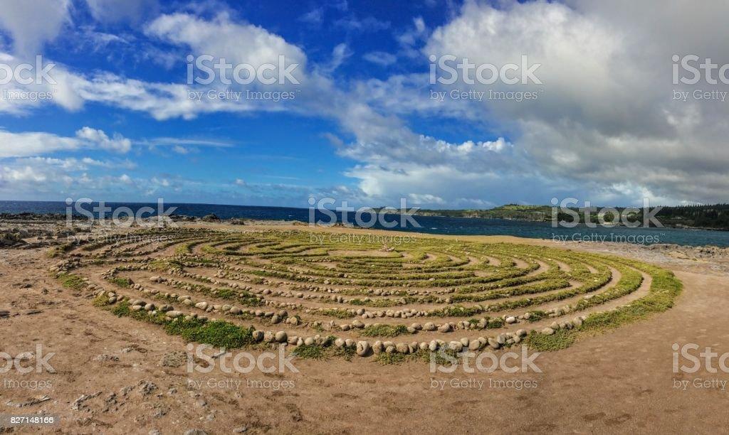 Kapalua Labyrinth by Dragon's Teeth formation, Coastline at Makaluapuna Point includes a complex maze of labyrinth near Kapalua, Maui, HI, USA stock photo