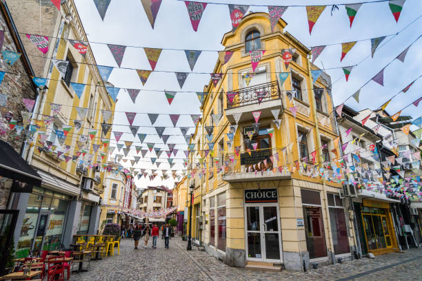 Kapana district is an area with cocktail bars and a lively nightlife, Plovdiv, Bulgaria stock photo