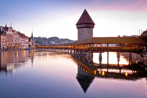 kapelbrucke in lucerne famous swiss landmark dawn view, famous landmarks of switzerland - lucerne stock pictures, royalty-free photos & images