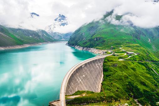 Kaprun dam located at high mountains in Austria