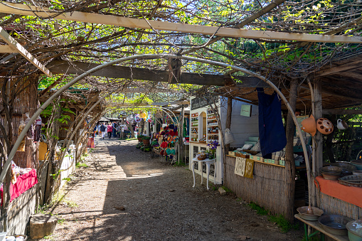 04.10.2021 - Kaptalantoti, Hungary: Kaptalantoti liliomkerti farmers market fair outdoor shops in kali basin .