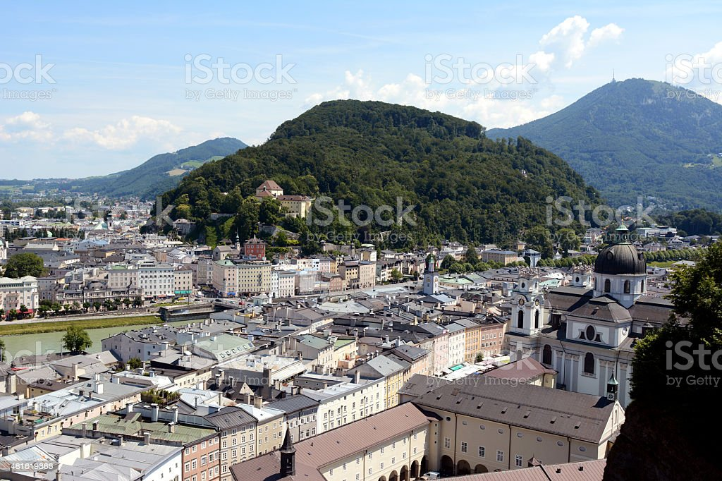 Kapuzinerberg stands in the middle of Salzburg city stock photo