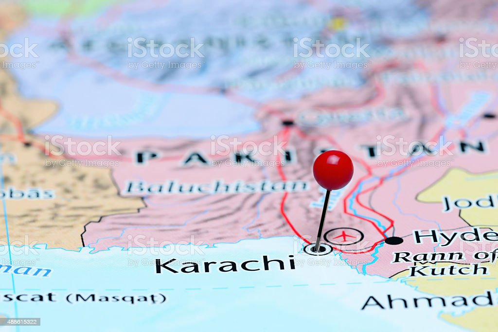Map Of Asia Karachi.Karachi Pinned On A Map Of Asia Stock Photo More Pictures Of 2015