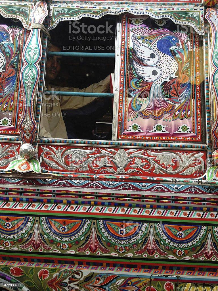 Karachi Public Bus adorned with Pakistan's Truck Art royalty-free stock photo