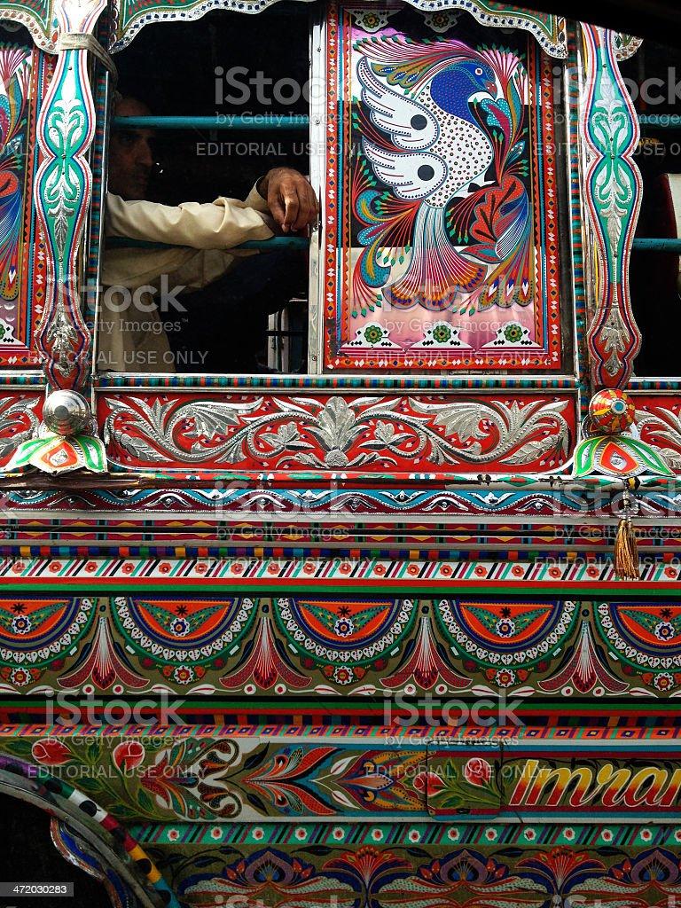Karachi Public Bus adorned with Pakistan's Truck Art stock photo
