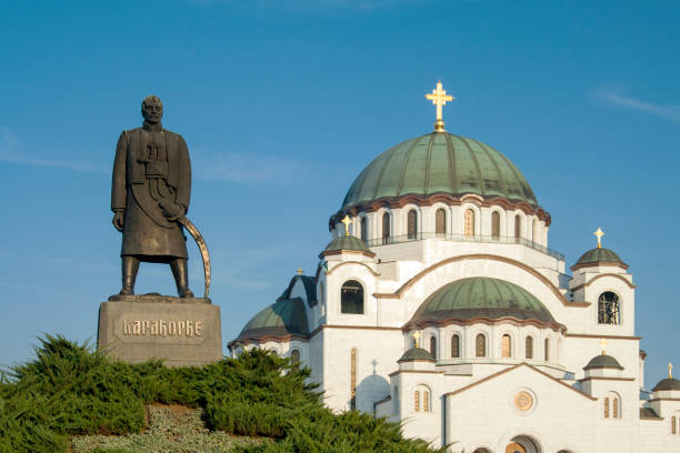 Karageorge Petrovich monument and Saint Sava Cathedral in Belgrade stock photo