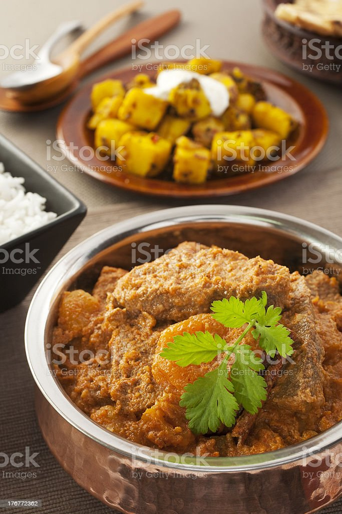 Karahi Lamb Indian Curry with Apricots royalty-free stock photo