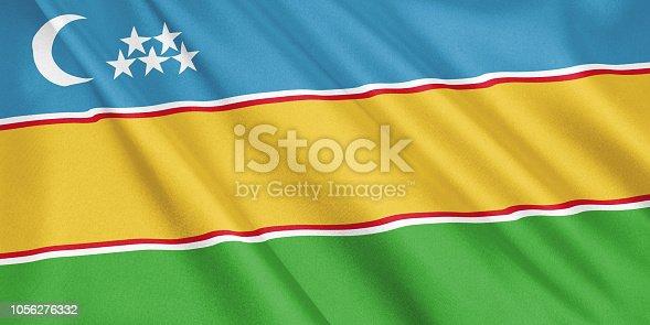 1056280906 istock photo Karakalpakstan flag waving with the wind, wide format, 3D illustration. 3D rendering. 1056276332