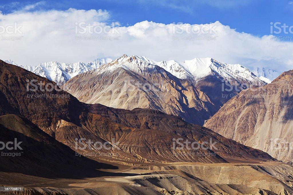 Karakoram mountain landscape in Ladakh, North India stock photo