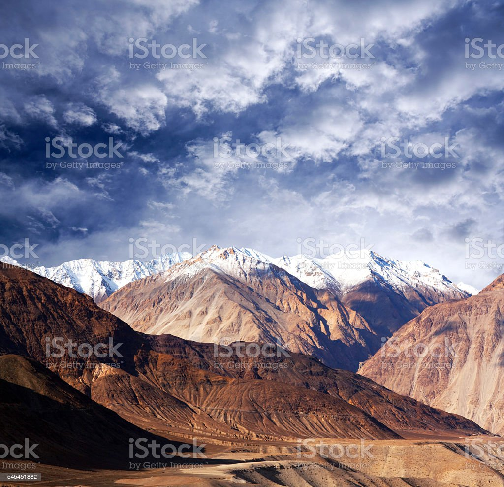 Karakoram mountain range in Ladakh, Jammu and Kashmir State, Nor stock photo