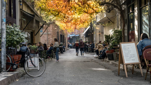 karakoy is one of the most trendy places in istanbul with modern cafes and bars - бейоглу стоковые фото и изображения
