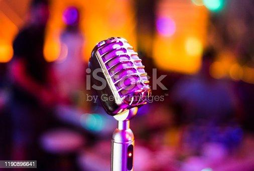 KTV karaoke singing microphone close up