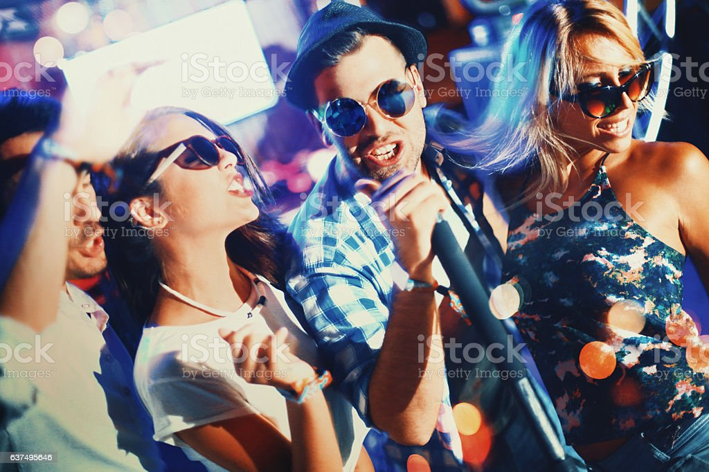 Karaoke night. stock photo