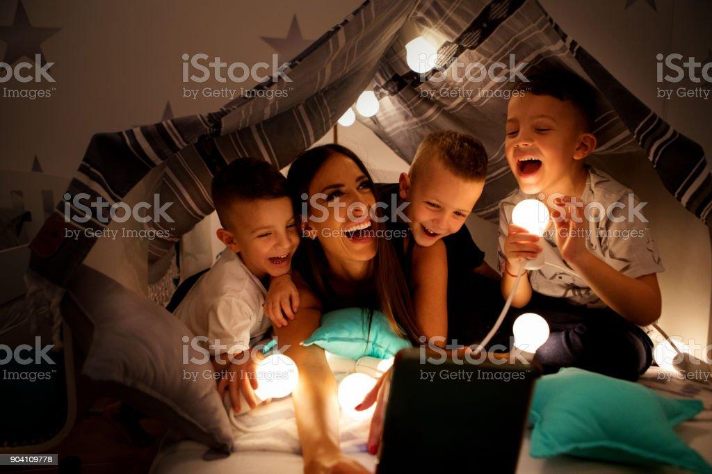 Karaoke night with mum stock photo