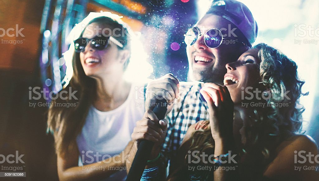 Karaoke party. stock photo