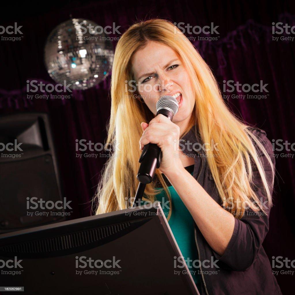 Karaoke Singer stock photo