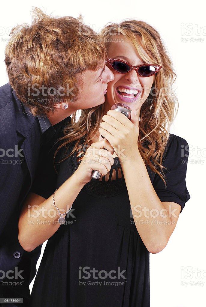 Karaoke Singers royalty-free stock photo