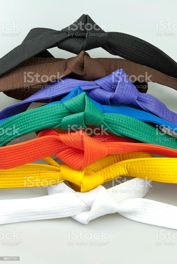 Karate Belts tied stock photo
