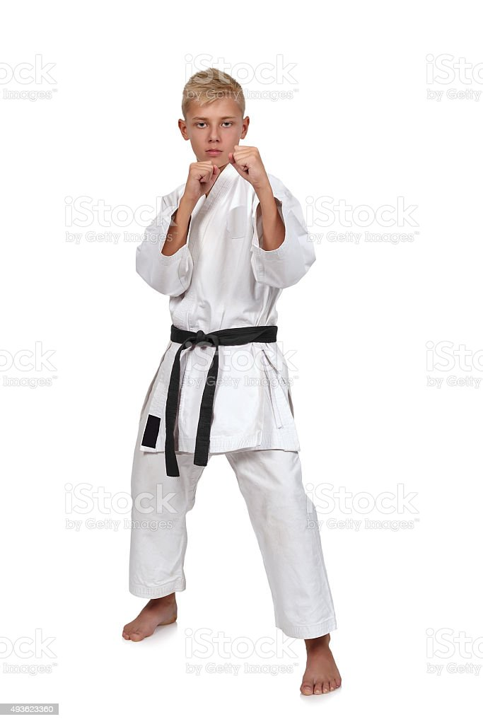 karate boy in kimono stock photo