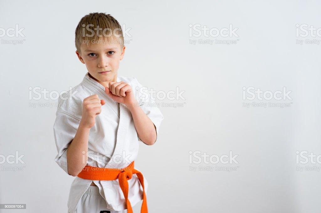 Karate boy training stock photo