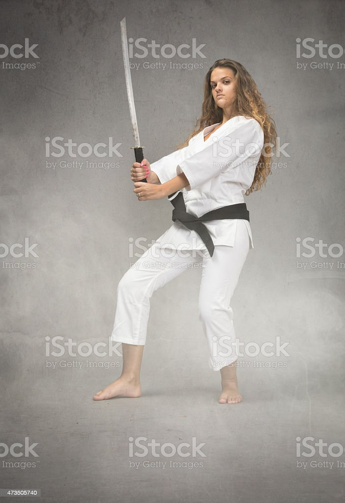 Karate Girl With Sword On Hand Stock Photo - Download Image Now - iStock
