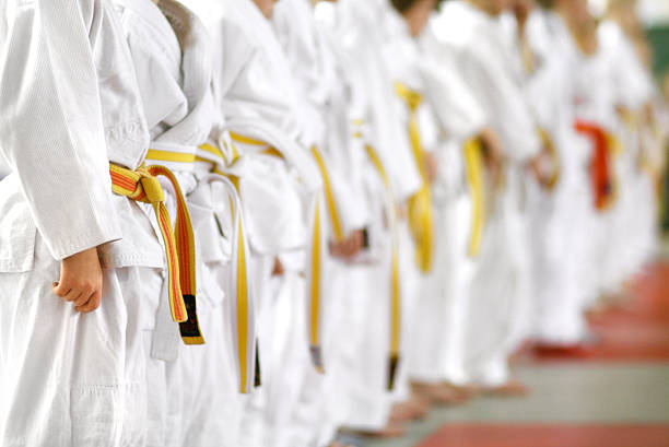 karate kids - martial arts stock photos and pictures