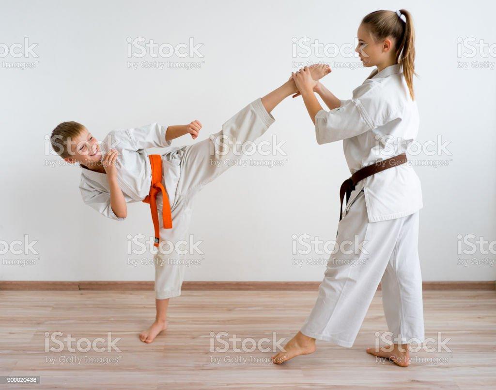 Karate kids training stock photo