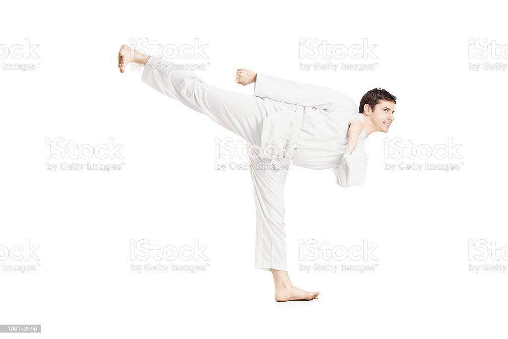Karate man exercising royalty-free stock photo